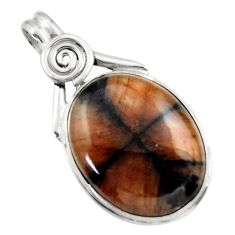 25.57cts natural brown chiastolite 925 sterling silver pendant jewelry r31997