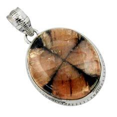 22.05cts natural brown chiastolite 925 sterling silver pendant jewelry r32000