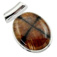 24.38cts natural brown chiastolite 925 sterling silver pendant jewelry r32222