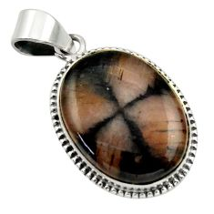 21.48cts natural brown chiastolite 925 sterling silver pendant jewelry r32223