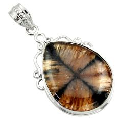 22.59cts natural brown chiastolite 925 sterling silver pendant jewelry r32225