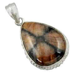 20.88cts natural brown chiastolite 925 sterling silver pendant jewelry r41721