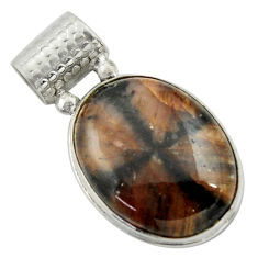 20.15cts natural brown chiastolite 925 sterling silver pendant jewelry r41723