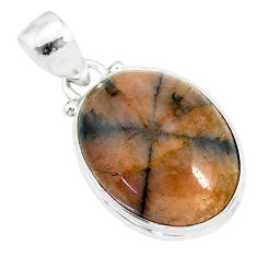 14.68cts natural brown chiastolite 925 sterling silver handmade pendant r86442