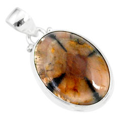 16.18cts natural brown chiastolite 925 sterling silver handmade pendant r86444
