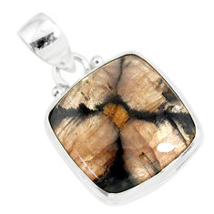 14.68cts natural brown chiastolite 925 sterling silver handmade pendant r86447