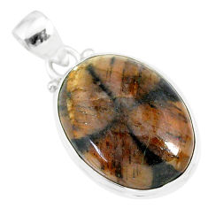 15.65cts natural brown chiastolite 925 sterling silver handmade pendant r86449