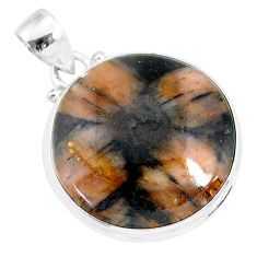 20.07cts natural brown chiastolite 925 sterling silver handmade pendant r86454