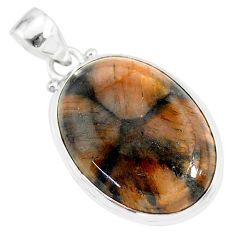 19.72cts natural brown chiastolite 925 sterling silver handmade pendant r86456