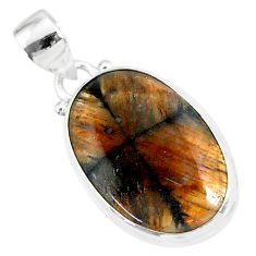 12.58cts natural brown chiastolite 925 sterling silver handmade pendant r86458