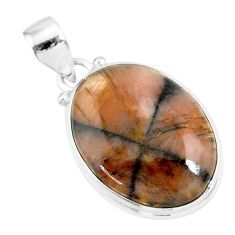 15.65cts natural brown chiastolite 925 sterling silver handmade pendant r86461