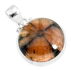 16.18cts natural brown chiastolite 925 sterling silver handmade pendant r86464