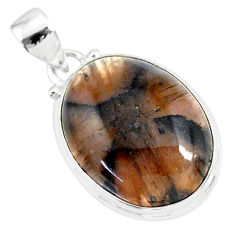 18.68cts natural brown chiastolite 925 sterling silver handmade pendant r86465