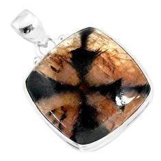 25.00cts natural brown chiastolite 925 sterling silver handmade pendant r86471