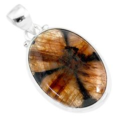 17.57cts natural brown chiastolite 925 sterling silver handmade pendant r86474