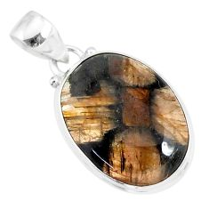 14.23cts natural brown chiastolite 925 sterling silver handmade pendant r86475