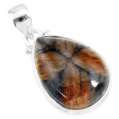15.65cts natural brown chiastolite 925 sterling silver handmade pendant r86476