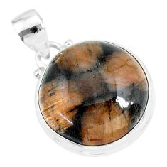 18.15cts natural brown chiastolite 925 sterling silver handmade pendant r86479