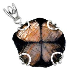 22.81cts natural brown chiastolite 925 sterling silver pendant jewelry t47928