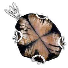 28.24cts natural brown chiastolite 925 sterling silver pendant jewelry t47932