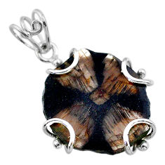 18.73cts natural brown chiastolite 925 sterling silver pendant jewelry t47942