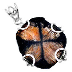 23.07cts natural brown chiastolite 925 sterling silver pendant jewelry t47943