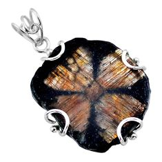31.29cts natural brown chiastolite 925 sterling silver pendant jewelry t47958