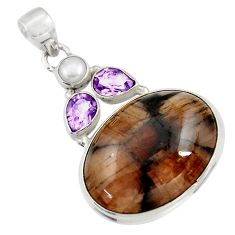 Clearance Sale- 27.70cts natural brown chiastolite amethyst 925 sterling silver pendant d42184