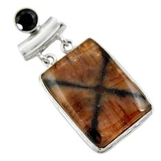 32.14cts natural brown chiastolite onyx 925 sterling silver pendant r30555