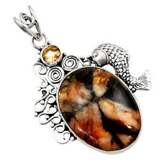 Clearance Sale- 21.72cts natural brown chiastolite smoky topaz 925 silver fish pendant d45088