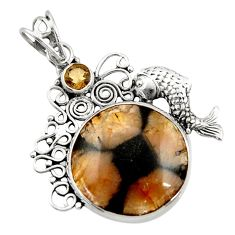 Clearance Sale- 18.94cts natural brown chiastolite smoky topaz 925 silver fish pendant d45089