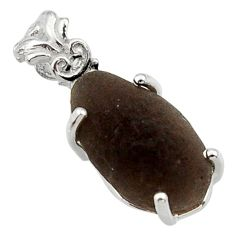 8.26cts natural brown chintamani saffordite 925 sterling silver pendant r29766