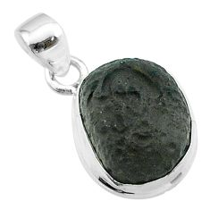 6.27cts natural brown chintamani saffordite 925 sterling silver pendant t58187
