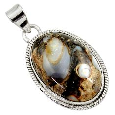 Clearance Sale- 26.16cts natural brown colus fossil 925 sterling silver pendant jewelry d45390