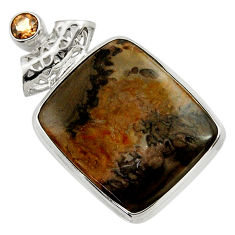 Clearance Sale- 25.00cts natural brown cotham landscape marble 925 silver pendant d41596