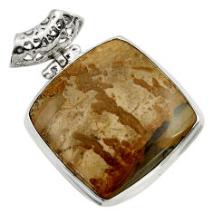 Clearance Sale- 31.56cts natural brown cotham landscape marble 925 silver pendant d41597