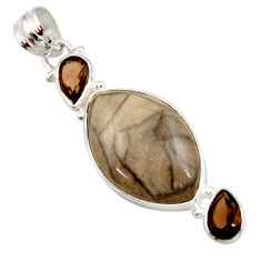 Clearance Sale- 14.23cts natural brown cotham landscape marble 925 silver pendant d42245