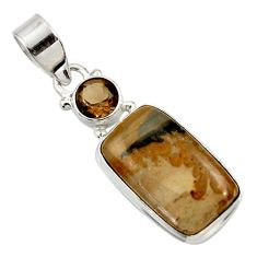 Clearance Sale- 12.58cts natural brown cotham landscape marble 925 silver pendant d45282