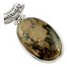 Clearance Sale- 25.57cts natural brown cotham landscape marble oval 925 silver pendant d41591