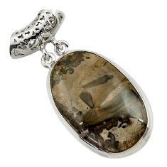 Clearance Sale- 24.00cts natural brown cotham landscape marble oval 925 silver pendant d41599
