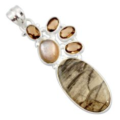 Clearance Sale- 16.20cts natural brown cotham landscape marble oval 925 silver pendant d42248