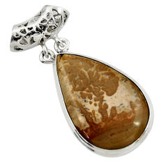 Clearance Sale- 18.15cts natural brown cotham landscape marble pear 925 silver pendant d41589