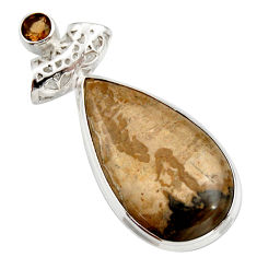 Clearance Sale- 21.48cts natural brown cotham landscape marble pear 925 silver pendant d42253