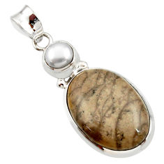Clearance Sale- 17.55cts natural brown cotham landscape marble pearl 925 silver pendant d42252