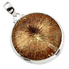 45.50cts natural brown cyclolite coral fossil 925 sterling silver pendant r41026