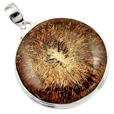 45.99cts natural brown cyclolite coral fossil 925 sterling silver pendant r41029