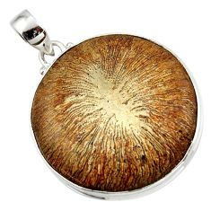 44.75cts natural brown cyclolite coral fossil 925 sterling silver pendant r41030