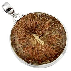 51.51cts natural brown cyclolite coral fossil 925 sterling silver pendant r41033