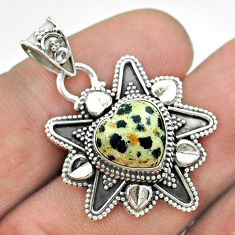 5.63cts natural brown dalmatian 925 sterling silver heart pendant jewelry t56086