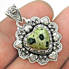 4.90cts natural brown dalmatian 925 sterling silver heart pendant jewelry t56209